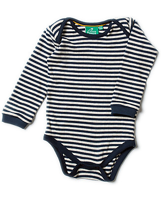 Little Green Radicals Pointelle Stripe Babybody, Navy - 100% organic cotton null