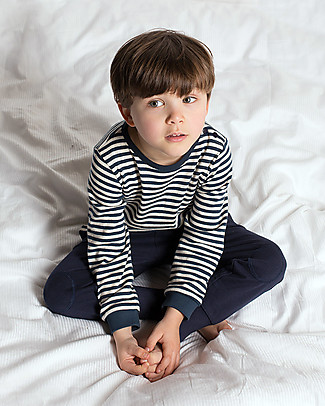 Little Green Radicals Pointelle Striped Long Sleeve Tee, Navy - 100% organic cotton Long Sleeves Tops