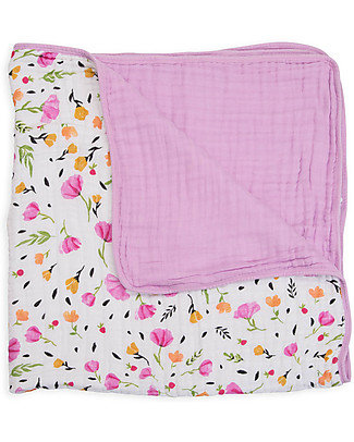Little Unicorn Baby Quilt 120 x 120 cm, Berry & Bloom -  4 layers of 100% cotton muslin Blankets
