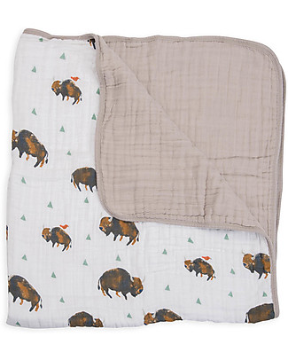 Little Unicorn Baby Quilt 120 x 120 cm, Bison - 4 layers of 100% cotton muslin Blankets