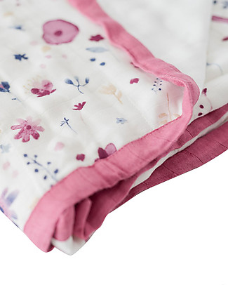 Little Unicorn Baby Quilt 120 x 120 cm, Deluxe - Fairy Garden - 4 layers of 100% Bamboo Muslin Blankets