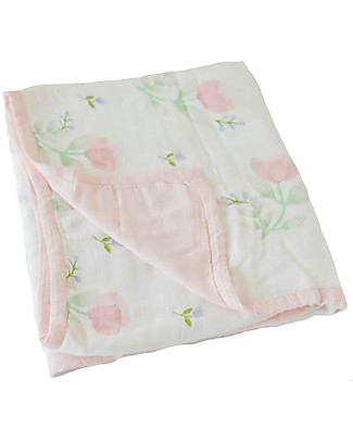 Little Unicorn Baby Quilt 120 x 120 cm, Deluxe - Pink Peony - 4 layers of 100% Bamboo Muslin Blankets
