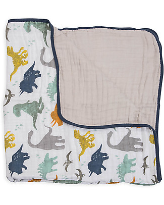 Little Unicorn Baby Quilt 120 x 120 cm, Dino Friends -  4 layers of 100% cotton muslin null
