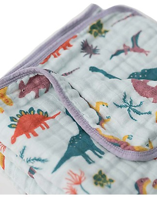 Little Unicorn Baby Quilt 120 x 120 cm, Jurassic World Embroidosaurus - 4 layers of 100% cotton muslin Blankets