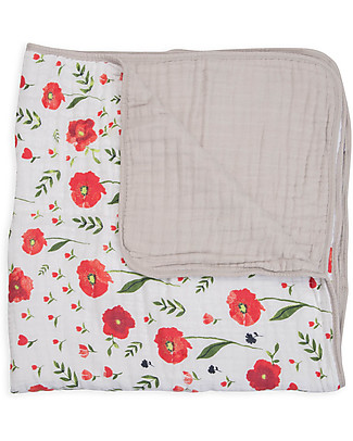 Little Unicorn Baby Quilt 120 x 120 cm, Summer Poppy - 4 layers of 100% cotton muslin Blankets