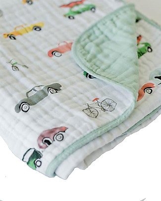 Little Unicorn Baby Quilt 120 x 120 cm, Traffic Jam -  4 layers of 100% cotton muslin Blankets