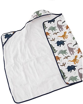 Little Unicorn Big Kid Hooded Towel + Wash Cloth Set, Dino Friends - Terry cotton muslin  Towels And Flannels