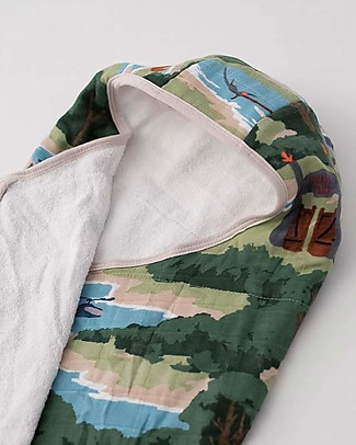 Little Unicorn Big Kid Hooded Towel + Wash Cloth Set,  Jurassic World - Terry cotton muslin  Towels And Flannels