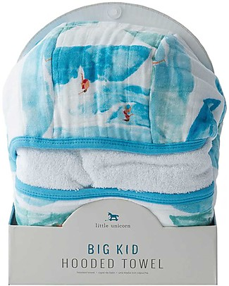 Little Unicorn Big Kid Hooded Towel + Wash Cloth Set, Surf - Terry cotton muslin  Towels And Flannels