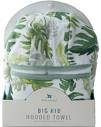 Little Unicorn Big Kid Hooded Towel + Wash Cloth Set, Tropical Leaf - Terry cotton muslin  Towels And Flannels