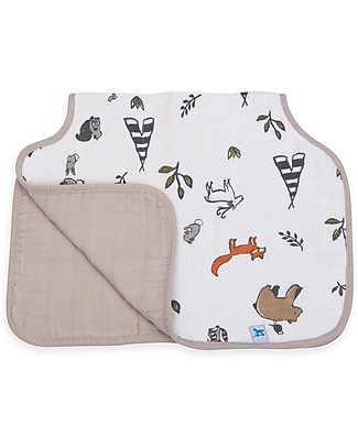 Little Unicorn Burp Cloth, Forest Friends - 4 Quilted Layers of 100% Cotton Muslin Burpy Bibs