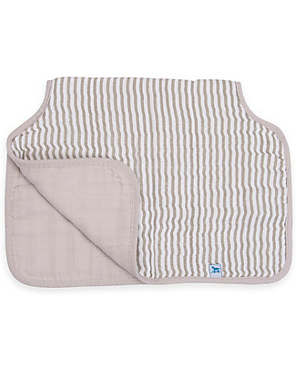 Little Unicorn Burp Cloth - Grey Stripe - 4 Quilted Layers of 100% Cotton Muslin Burpy Bibs