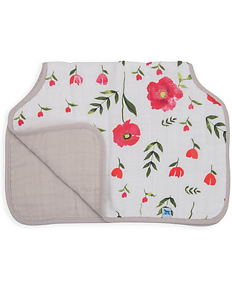 Little Unicorn Burp Cloth - Summer Poppy - 4 Quilted Layers of 100% Cotton Muslin Burpy Bibs