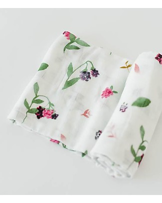 Little Unicorn Deluxe Swaddle Blanket 120 x 120 cm,  Berry Patch - 100% bamboo muslin Swaddles