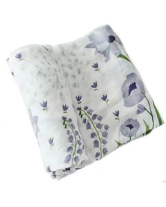 Little Unicorn Deluxe Swaddle Blanket 120 x 120 cm, Blue Windflower - 100% bamboo muslin Swaddles
