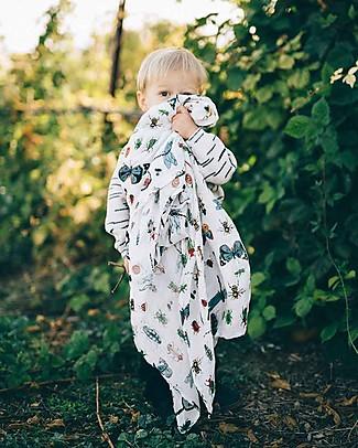 Little Unicorn Deluxe Swaddle Blanket 120 x 120 cm, Bugs - 100% bamboo muslin Swaddles