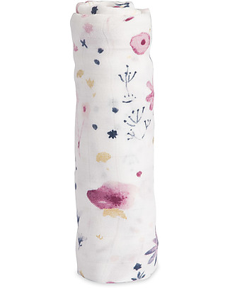 Little Unicorn Deluxe Swaddle Blanket 120 x 120 cm, Fairy Garden - 100% bamboo muslin Swaddles