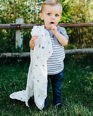 Little Unicorn Deluxe Swaddle Blanket 120 x 120 cm, Gone Fishing - 100% bamboo muslin Swaddles