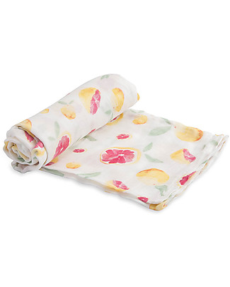Little Unicorn Deluxe Swaddle Blanket 120 x 120 cm, Grapefruit - 100% bamboo muslin Swaddles