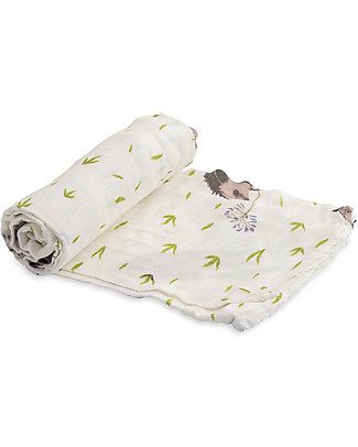 Little Unicorn Deluxe Swaddle Blanket 120 x 120 cm,  Hedgehog- 100% bamboo muslin Swaddles