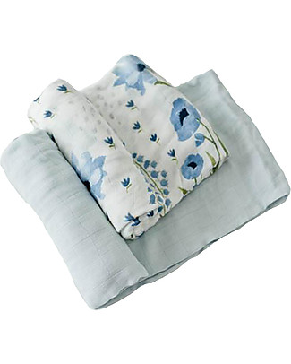 Little Unicorn Gift set of 2 Maxi Swaddles Deluxe 120 x 120 cm, Blue Windflower - 100% muslin from bamboo Swaddles