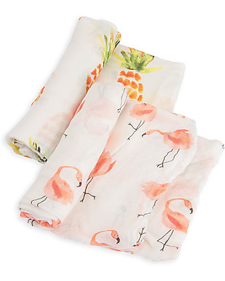 Little Unicorn Gift set of 2 Maxi Swaddles Deluxe 120 x 120 cm, Flamingo Pink ladies/Pineapples - 100% rayon muslin from bamboo Swaddles