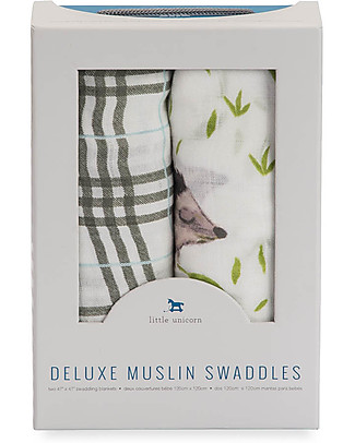 Little Unicorn Gift set of 2 Maxi Swaddles Deluxe 120 x 120 cm, Hedgehog - 100% rayon muslin from bamboo Swaddles