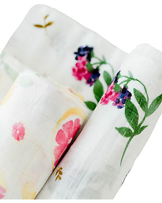 Little Unicorn Gift set of 2 Maxi Swaddles Deluxe 120 x 120 cm, Sweet Tart - 100% muslin from bamboo Swaddles