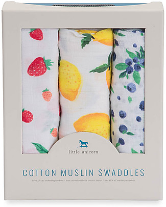 Little Unicorn Gift Set of 3 Maxi Swaddles 120 x 120 cm, Berry Lemonade - 100% cotton muslin Swaddles