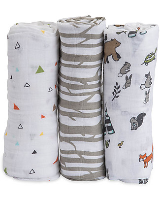 Little Unicorn Gift Set of 3 Maxi Swaddles 120 x 120 cm,  Forest Friends- 100% Cotton Muslin Swaddles