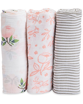 Little Unicorn Gift Set of 3 Maxi Swaddles 120 x 120 cm, Garden Rose - 100% Cotton Muslin null