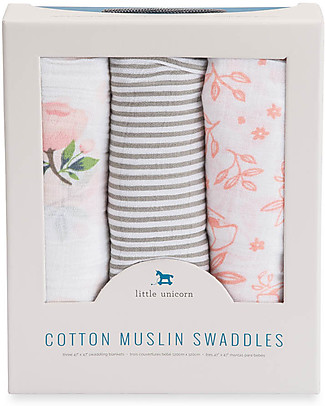 Little Unicorn Gift Set of 3 Maxi Swaddles 120 x 120 cm, Garden Rose - 100% Cotton Muslin Swaddles