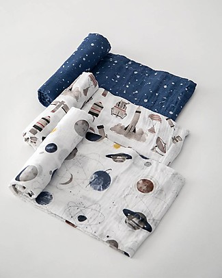 Little Unicorn Gift Set of 3 Maxi Swaddles 120 x 120 cm, Planetary - 100% Cotton Muslin Swaddles