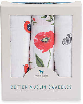 Little Unicorn Gift Set of 3 Maxi Swaddles 120 x 120 cm, Summer Poppy - 100% Cotton Muslin Swaddles
