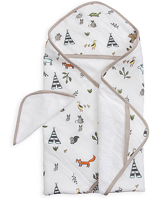 Little Unicorn Hooded Towel & Wash Cloth - Forest Friends - Terry Cotton Muslin Towels And Flannels