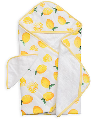 Little Unicorn Hooded Towel & Wash Cloth - Lemon - Terry Cotton Muslin  Towels And Flannels