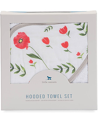 Little Unicorn Hooded Towel & Wash Cloth - Summer Poppy - Terry Cotton Muslin  Towels And Flannels