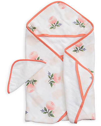 Little Unicorn Hooded Towel & Wash Cloth - Watercolor Rose -  Terry  Cotton Muslin  null