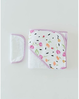 Little Unicorn Hooded Towel + Wash Cloth Set, Berry & Bloom - Terry cotton muslin  Towels And Flannels