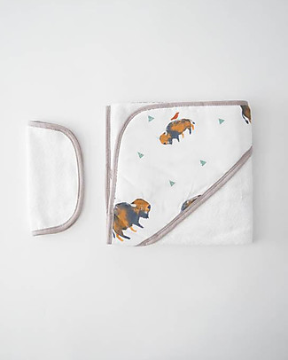 Little Unicorn Hooded Towel + Wash Cloth Set, Bison - Terry cotton muslin  Towels And Flannels