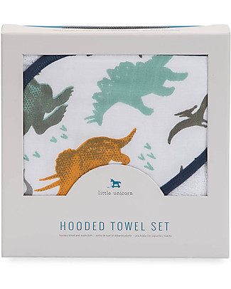 Little Unicorn Hooded Towel + Wash Cloth Set, Dino Friends - Terry cotton muslin  Towels And Flannels