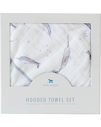 Little Unicorn Hooded Towel + Wash Cloth Set, Narwahl - Terry cotton muslin  Towels And Flannels
