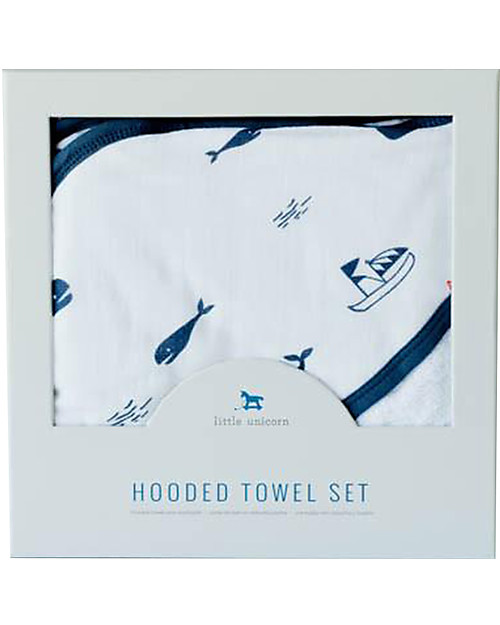 Little Unicorn Hooded Towel + Wash Cloth Set, Nautical Harbor - Terry cotton muslin  Towels And Flannels