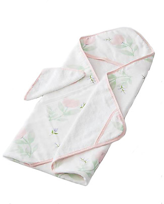 Little Unicorn Hooded Towel + Wash Cloth Set, Pink Peony - Terry cotton muslin  Towels And Flannels
