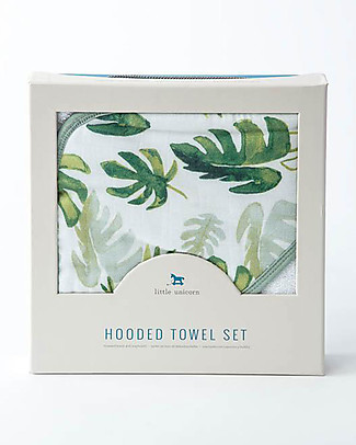 Little Unicorn Hooded Towel + Wash Cloth Set, Tropicla Leaf - Terry cotton muslin  Towels And Flannels