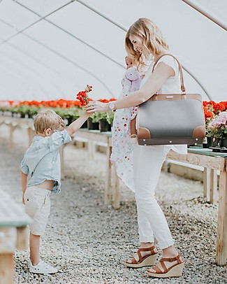 Little Unicorn Manifest Weekender Vegan Leather Changing Bag, Grey - With changing pad and stroller hooks Messenger Bags