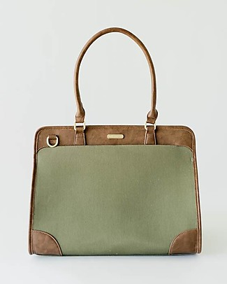 Little Unicorn Manifest Weekender Vegan Leather Changing Bag, Olive - With changing pad and stroller hooks Messenger Bags