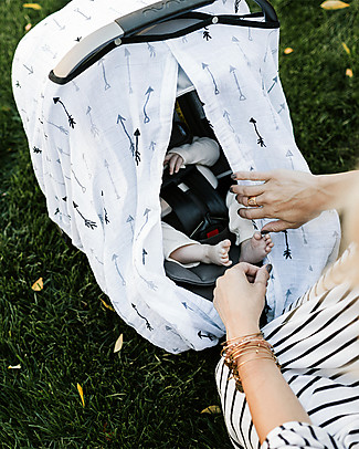Little Unicorn Muslin Car Seat Canopy - Arrow - 100% Cotton Muslin Stroller Accessories