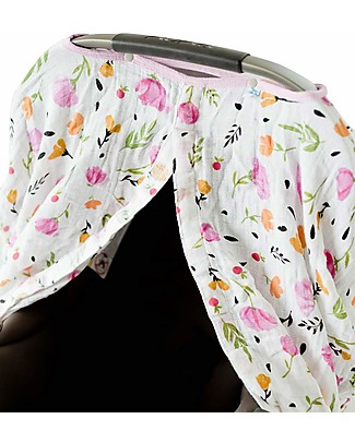 Little Unicorn Muslin Car Seat Canopy - Berry & Bloom - 100% Cotton Muslin Stroller Accessories