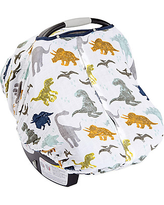 Little Unicorn Muslin Car Seat Canopy - Dino Friends - 100% Cotton Muslin Stroller Accessories